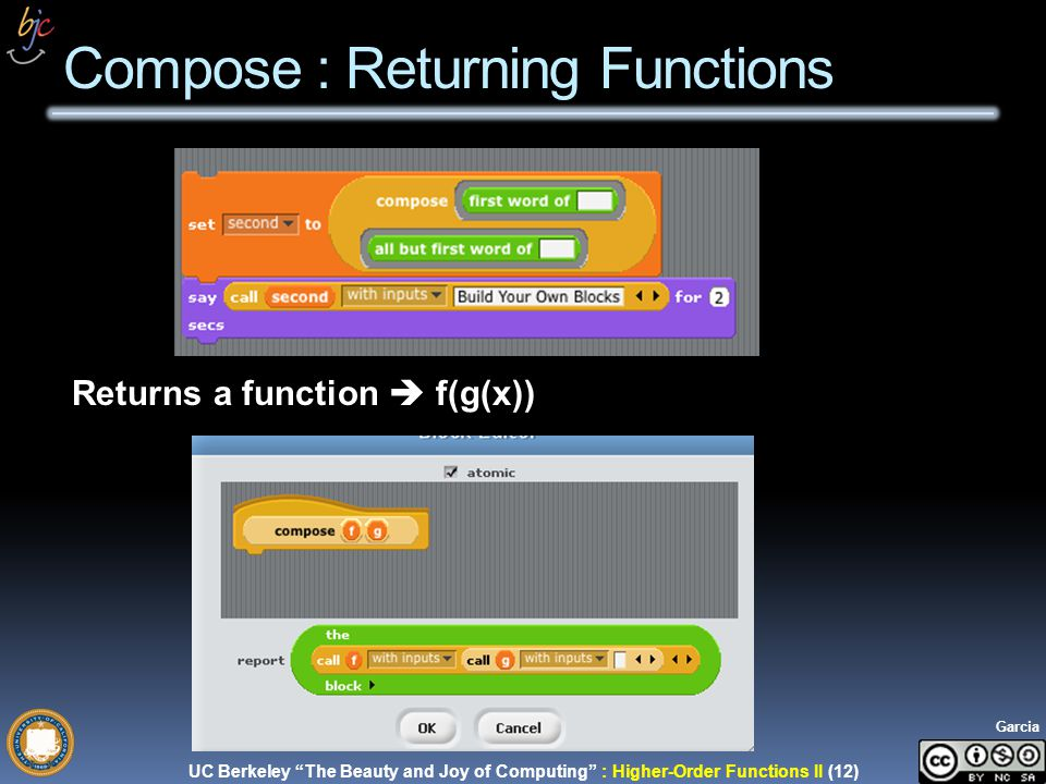 UC Berkeley The Beauty and Joy of Computing : Higher-Order Functions II (12) Garcia Compose : Returning Functions Returns a function f(g(x))