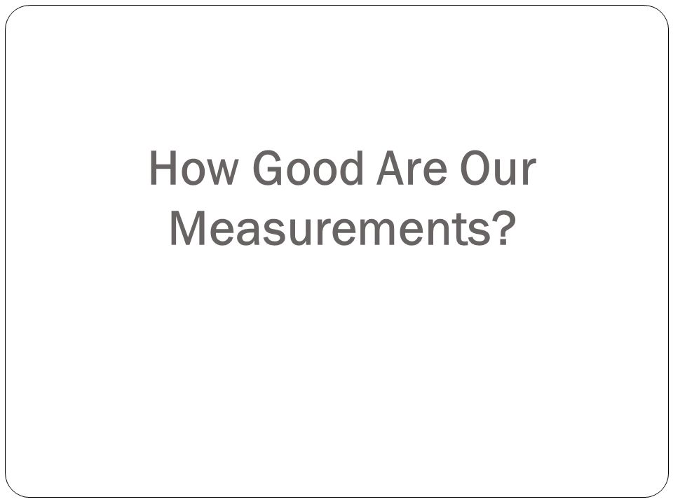 How Good Are Our Measurements?