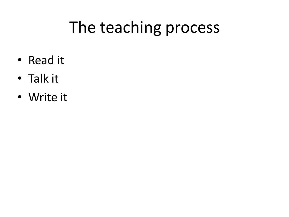 The teaching process Read it Talk it Write it