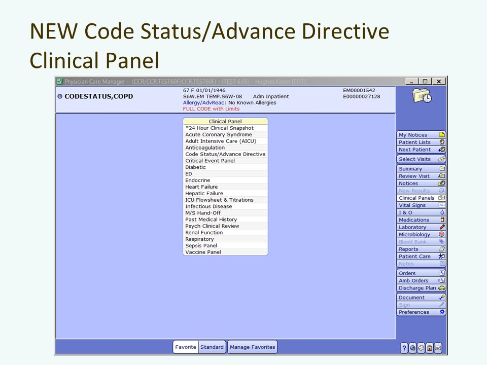 NEW Code Status/Advance Directive Clinical Panel