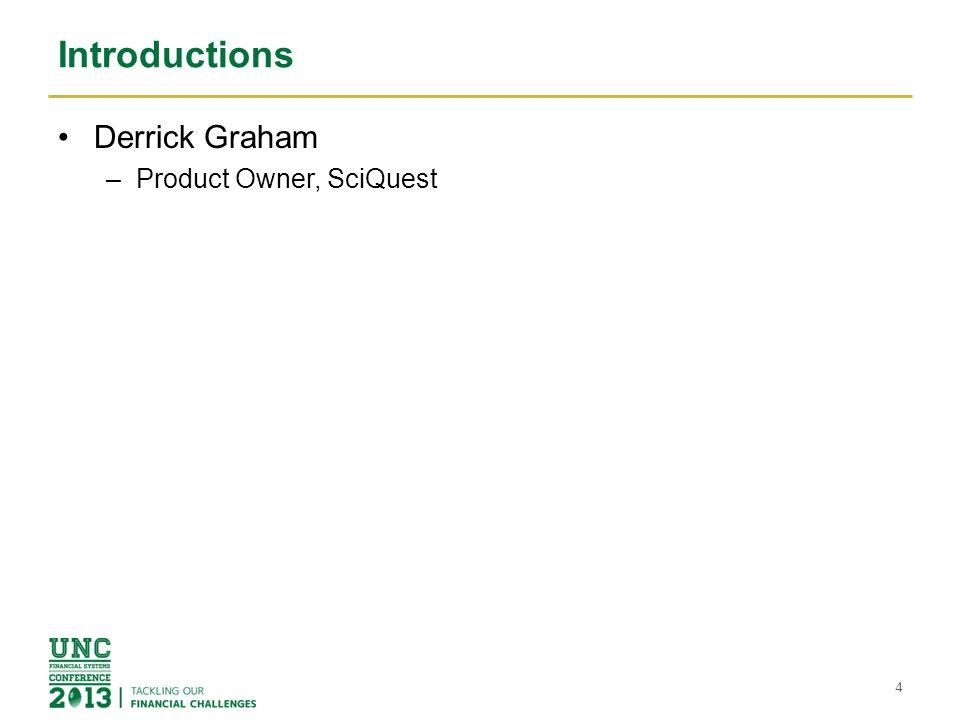 Introductions Derrick Graham –Product Owner, SciQuest 4