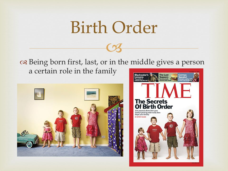 Being born first, last, or in the middle gives a person a certain role in the family Birth Order