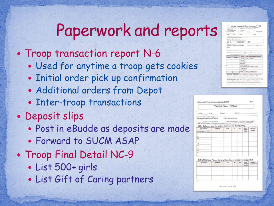 Troop transaction report N-6 Used for anytime a troop gets cookies Initial order pick up confirmation Additional orders from Depot Inter-troop transac