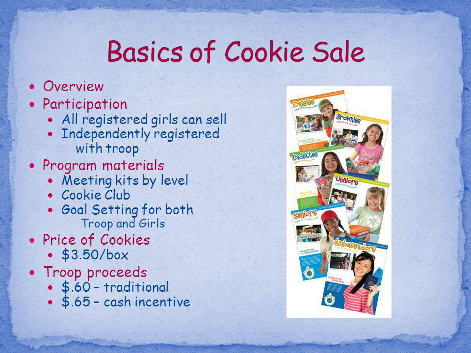 Overview Participation All registered girls can sell Independently registered with troop Program materials Meeting kits by level Cookie Club Goal Sett