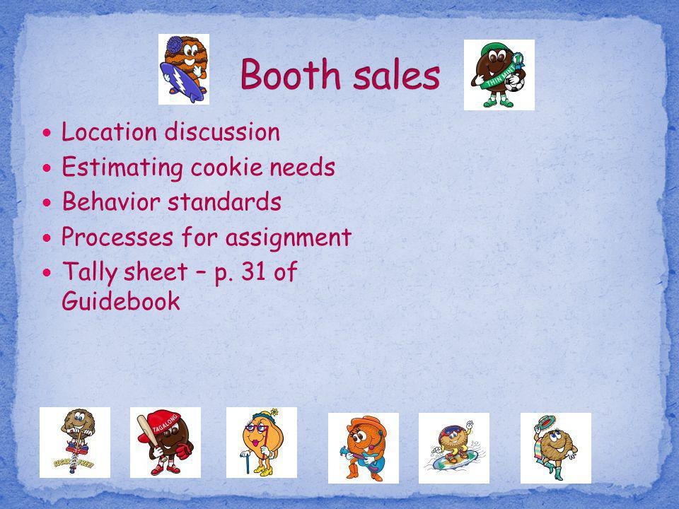 Location discussion Estimating cookie needs Behavior standards Processes for assignment Tally sheet – p. 31 of Guidebook