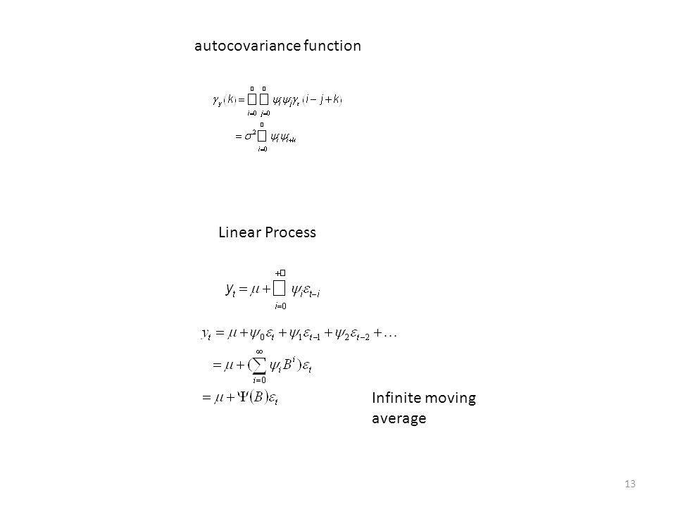 13 autocovariance function Linear Process Infinite moving average
