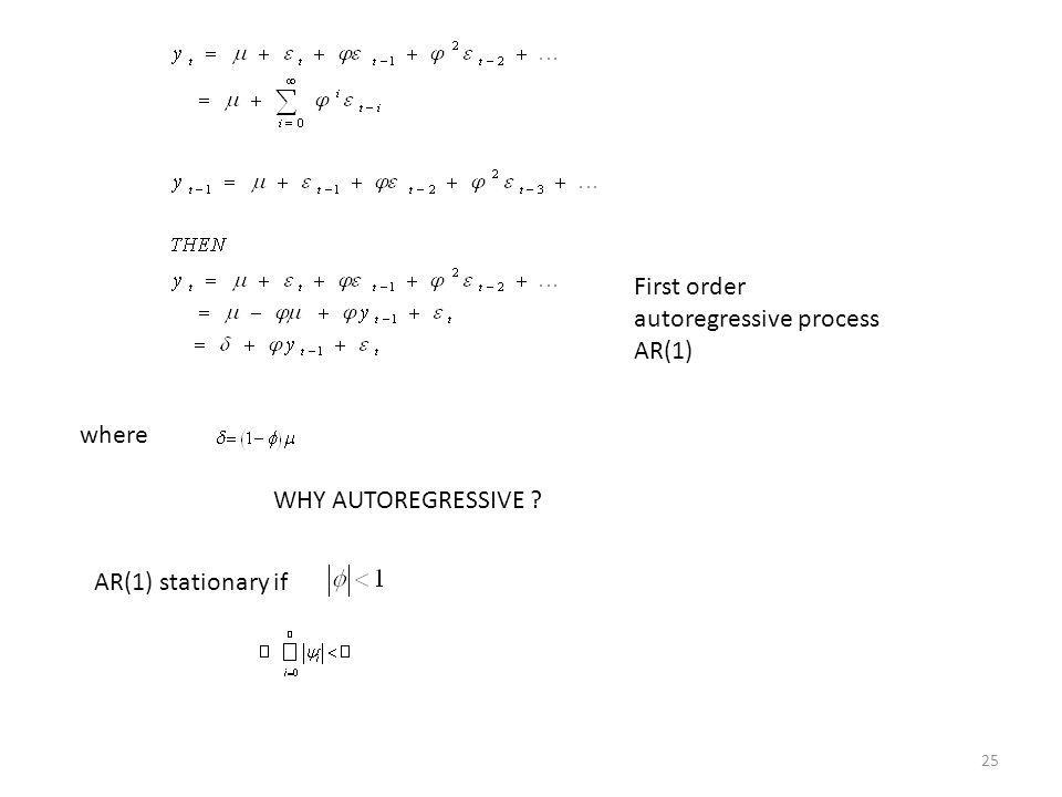 First order autoregressive process AR(1) AR(1) stationary if 25 where WHY AUTOREGRESSIVE ?
