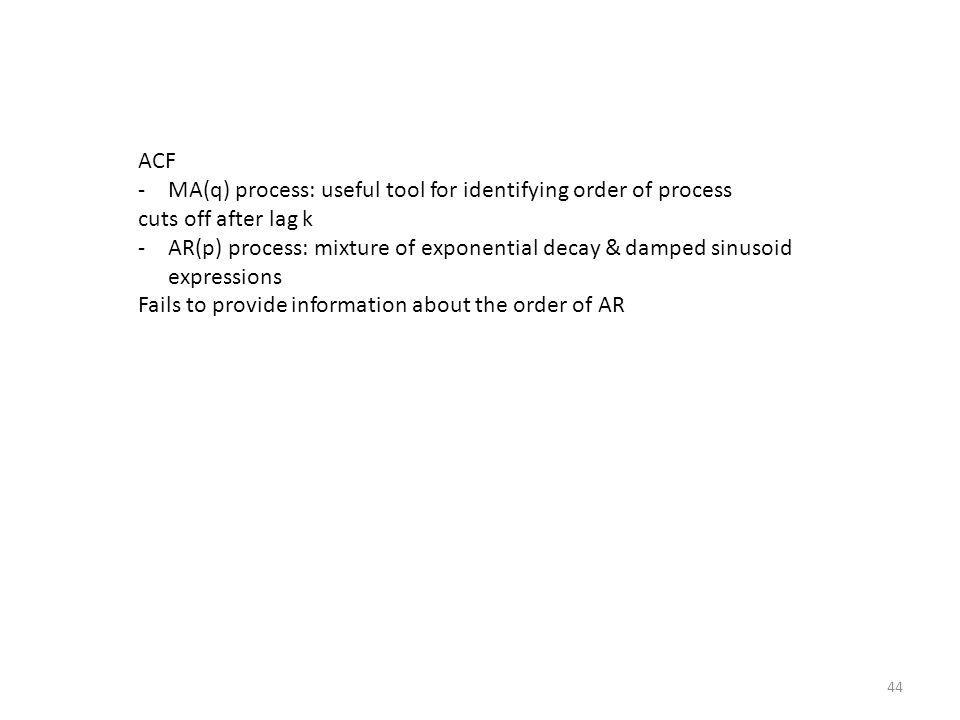 44 ACF -MA(q) process: useful tool for identifying order of process cuts off after lag k -AR(p) process: mixture of exponential decay & damped sinusoi