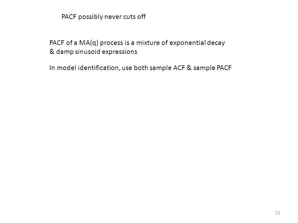 52 PACF of a MA(q) process is a mixture of exponential decay & damp sinusoid expressions In model identification, use both sample ACF & sample PACF PA