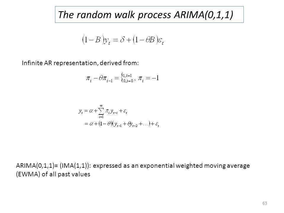 63 The random walk process ARIMA(0,1,1) Infinite AR representation, derived from: ARIMA(0,1,1)= (IMA(1,1)): expressed as an exponential weighted movin