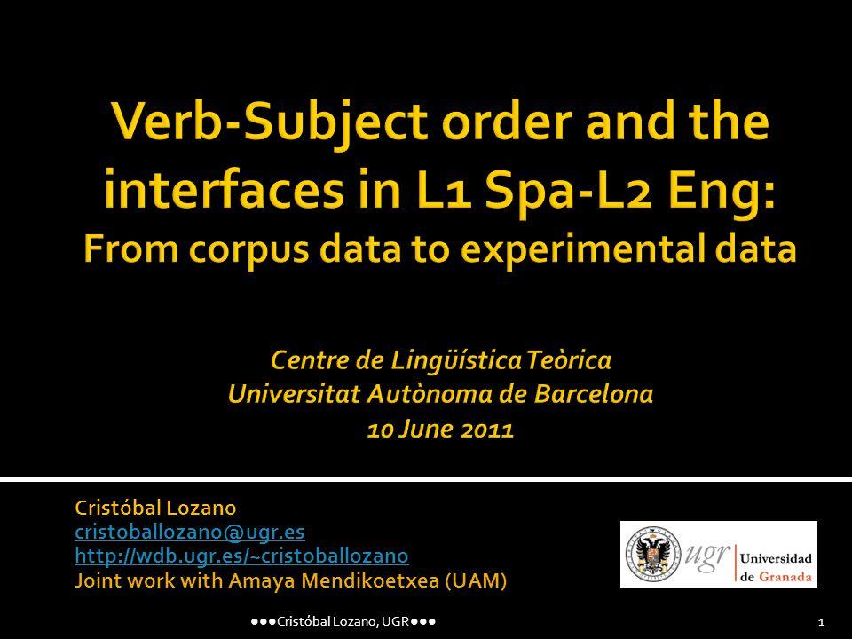 Cristóbal Lozano cristoballozano@ugr.es http://wdb.ugr.es/~cristoballozano Joint work with Amaya Mendikoetxea (UAM) Cristóbal Lozano, UGR 1