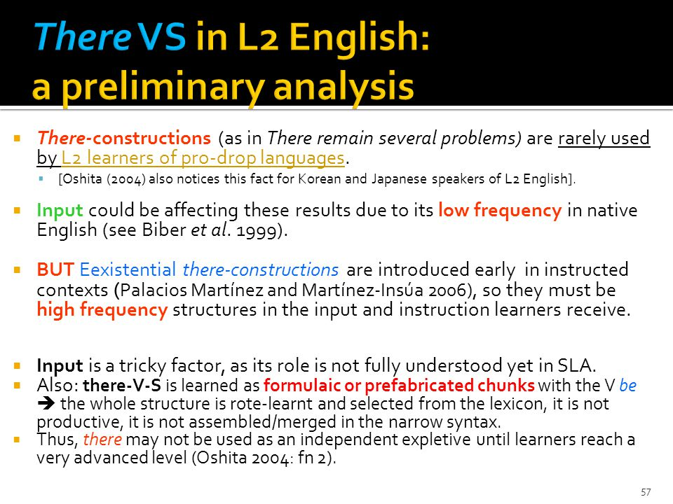 57 There-constructions (as in There remain several problems) are rarely used by L2 learners of pro-drop languages.