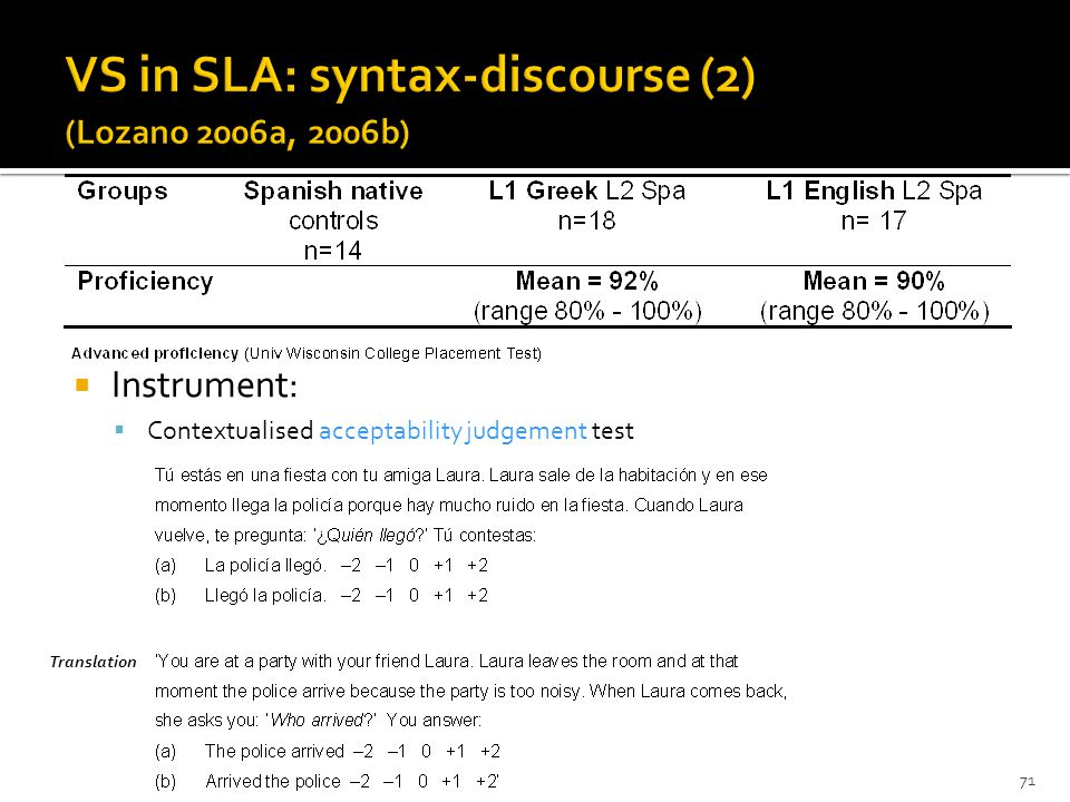 71 Instrument: Contextualised acceptability judgement test Translation