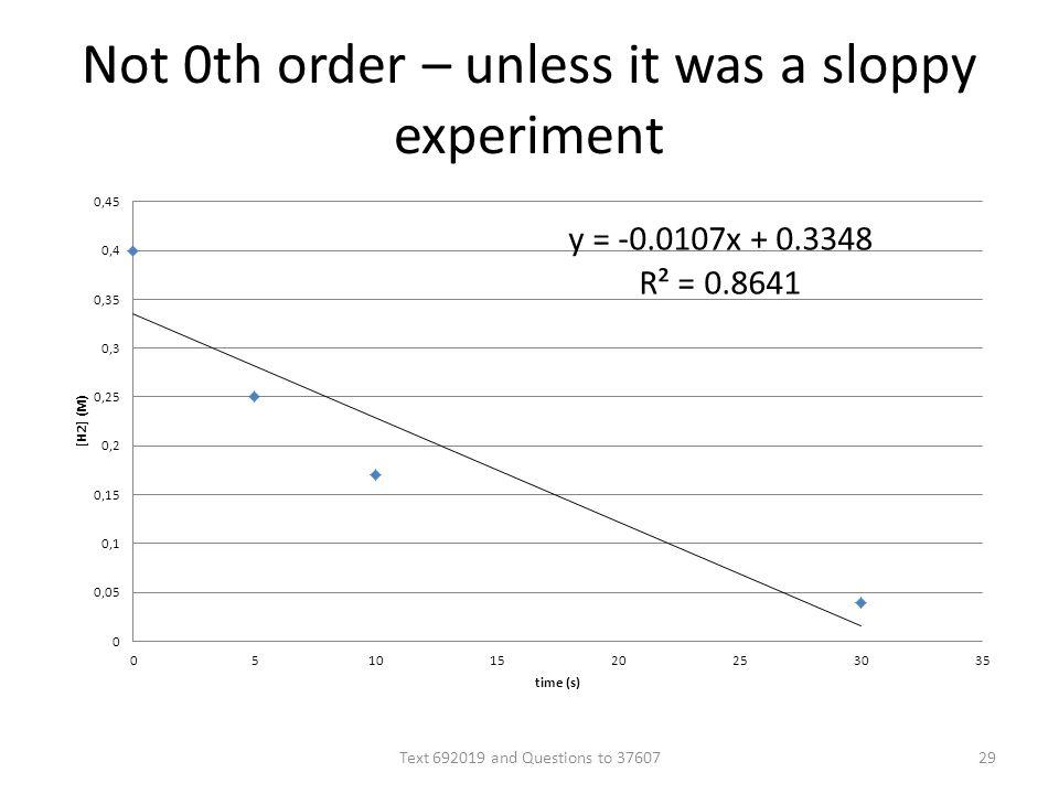 Not 0th order – unless it was a sloppy experiment Text 692019 and Questions to 3760729