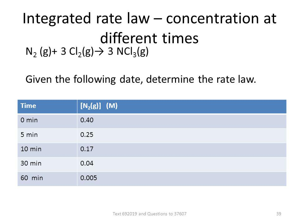 Integrated rate law – concentration at different times Time[N 2 (g)] (M) 0 min0.40 5 min0.25 10 min0.17 30 min0.04 60 min0.005 N 2 (g)+ 3 Cl 2 (g) 3 N