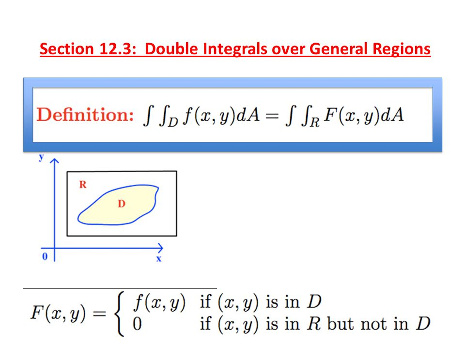 Section 12.3: Double Integrals over General Regions Problem: Compute the double integral of f(x,y) over the region D shown in the diagram.