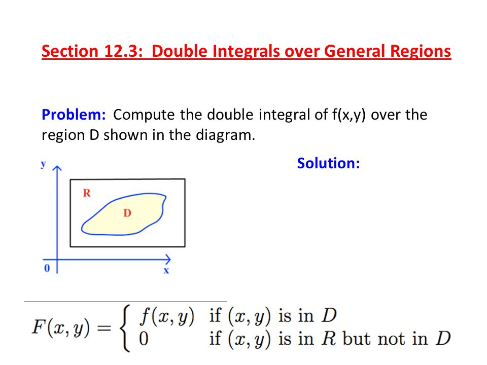 Problem: Compute the double integral of f(x,y) over the region D shown in the diagram. Solution: