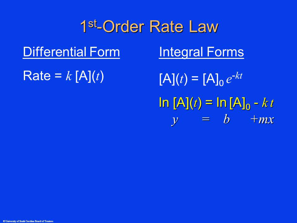 © University of South Carolina Board of Trustees 1 st -Order Rate Law Differential Form Rate = k [A]( t ) Integral Forms [A]( t ) = [A] 0 e - kt ln [A]( t ) = ln [A] 0 - k t y = b +mx y = b +mx
