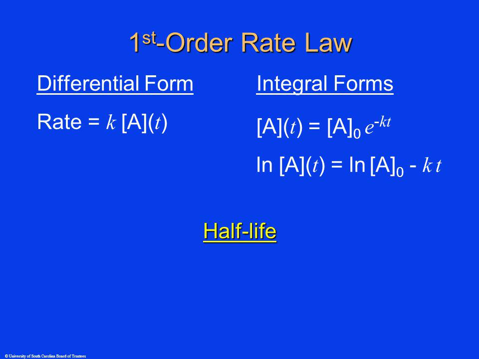 © University of South Carolina Board of Trustees 1 st -Order Rate Law Differential Form Rate = k [A]( t ) Integral Forms [A]( t ) = [A] 0 e - kt ln [A]( t ) = ln [A] 0 - k t Half-life