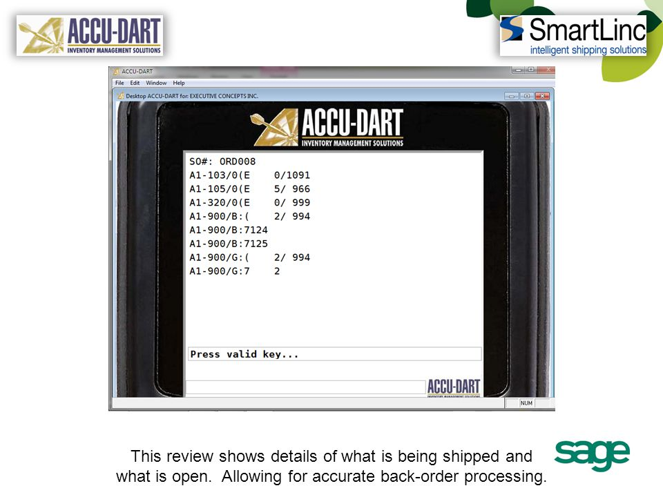 This review shows details of what is being shipped and what is open. Allowing for accurate back-order processing.