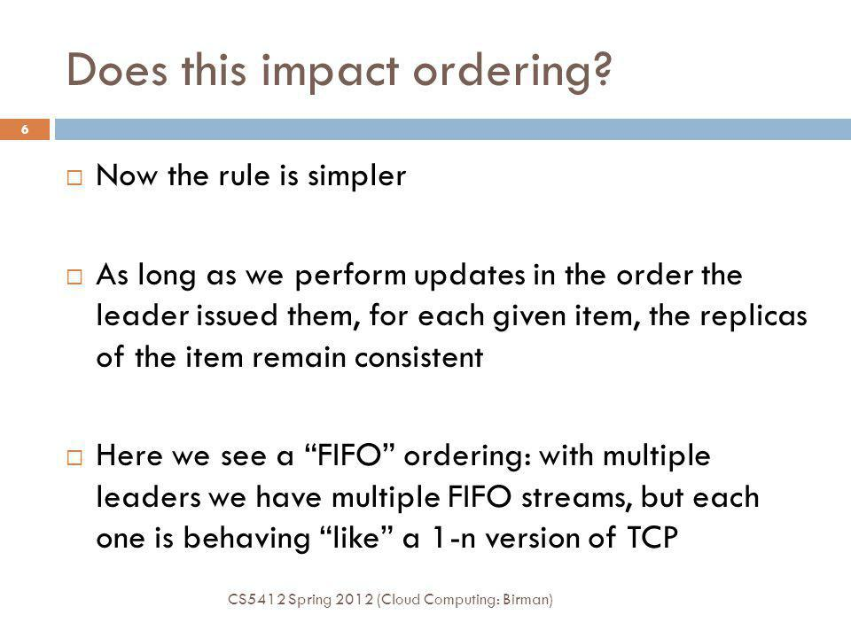 Does this impact ordering? CS5412 Spring 2012 (Cloud Computing: Birman) 6 Now the rule is simpler As long as we perform updates in the order the leade
