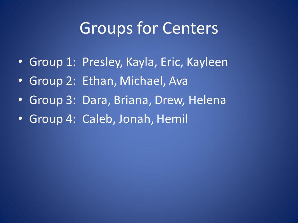 Groups for Centers Group 1: Presley, Kayla, Eric, Kayleen Group 2: Ethan, Michael, Ava Group 3: Dara, Briana, Drew, Helena Group 4: Caleb, Jonah, Hemil