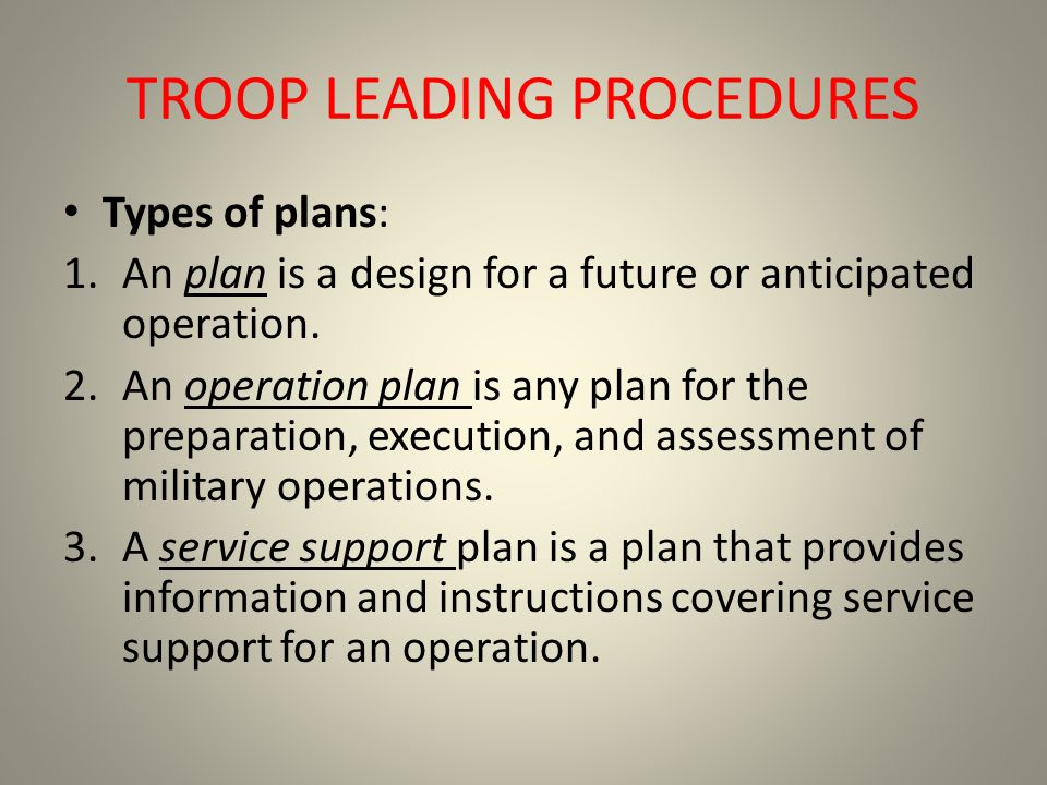TROOP LEADING PROCEDURES Types of plans: 1.An plan is a design for a future or anticipated operation. 2.An operation plan is any plan for the preparat