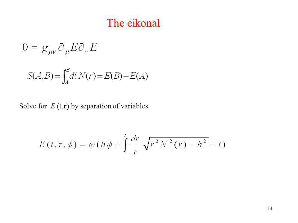 14 The eikonal Solve for E (t,r) by separation of variables