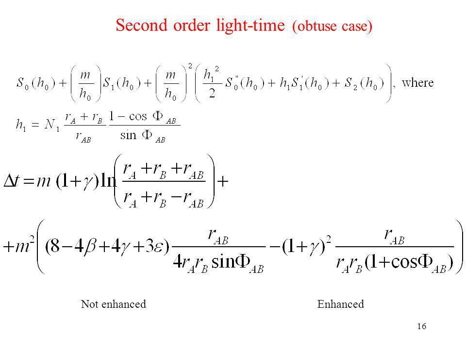 16 Second order light-time (obtuse case) Not enhanced Enhanced