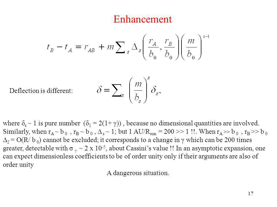 Enhancement Deflection is different: where δ s ~ 1 is pure number (δ 1 = 2(1+ γ)), because no dimensional quantities are involved.