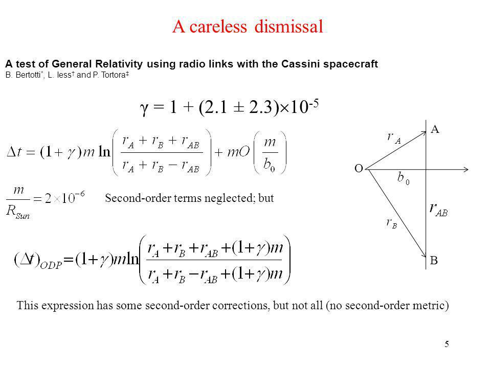5 A careless dismissal A test of General Relativity using radio links with the Cassini spacecraft B.
