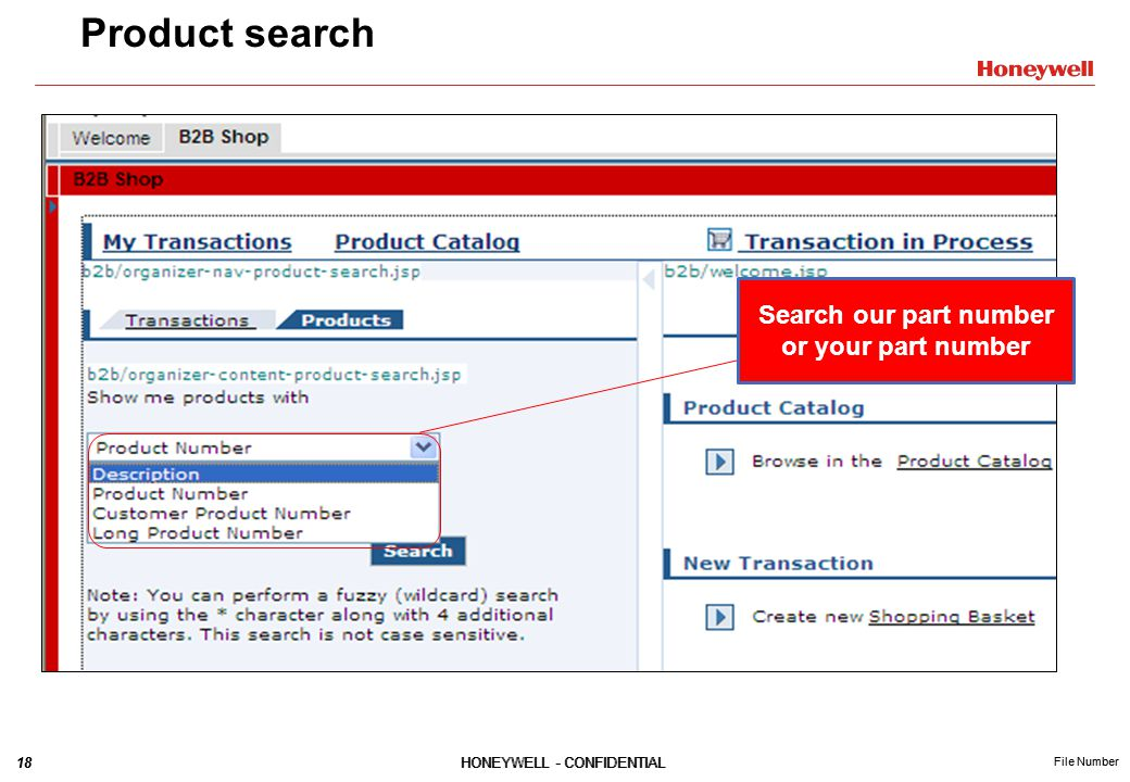 18HONEYWELL - CONFIDENTIAL File Number 18HONEYWELL - CONFIDENTIAL File Number Product search Search our part number or your part number
