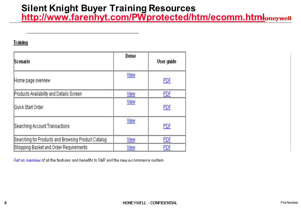 6HONEYWELL - CONFIDENTIAL File Number 6HONEYWELL - CONFIDENTIAL File Number Silent Knight Buyer Training Resources http://www.farenhyt.com/PWprotected/htm/ecomm.html http://www.farenhyt.com/PWprotected/htm/ecomm.html