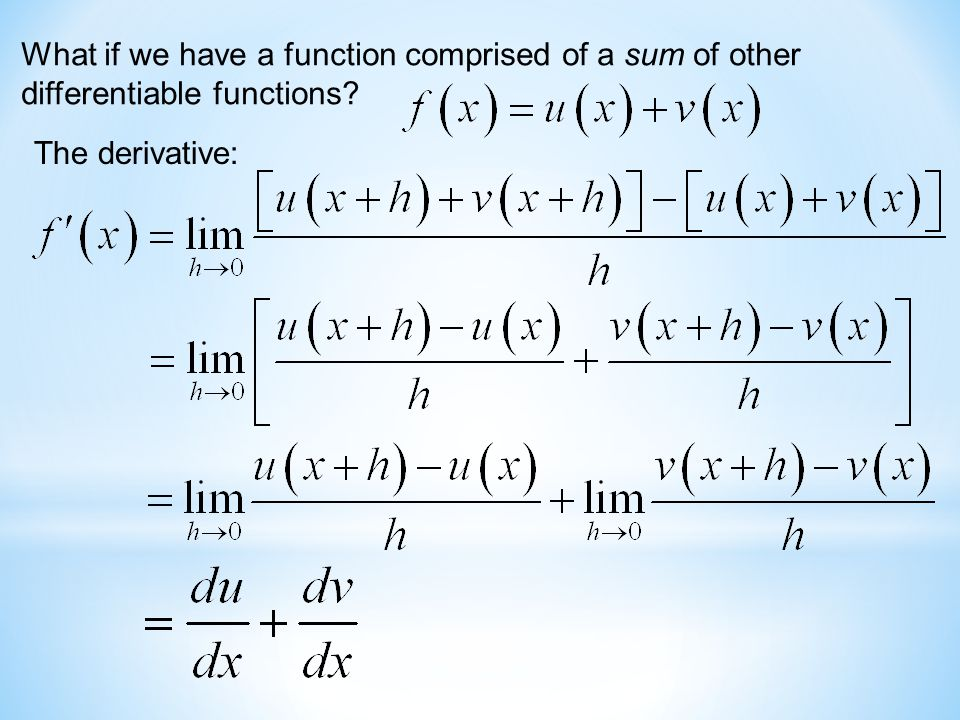 What if we have a function comprised of a sum of other differentiable functions The derivative: