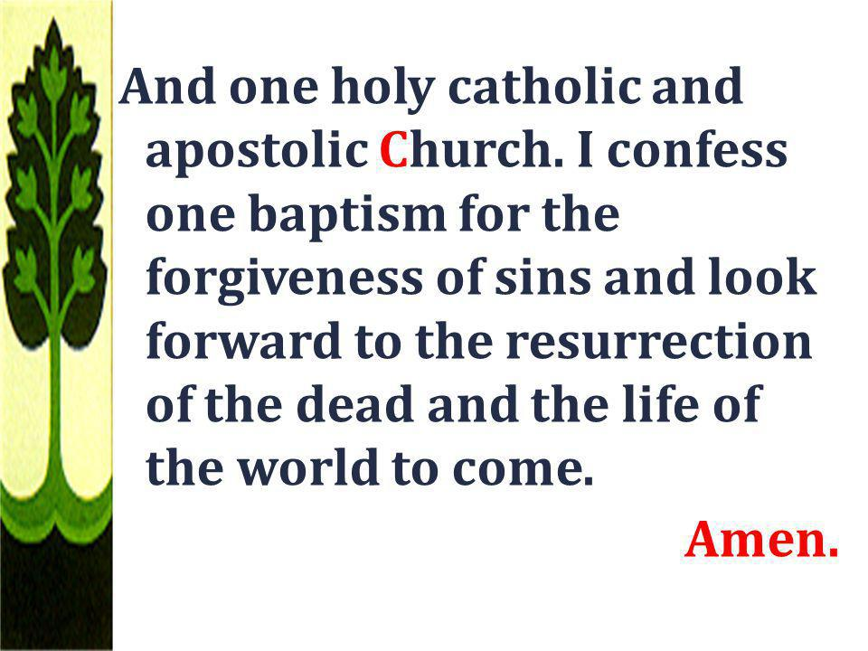 And one holy catholic and apostolic Church. I confess one baptism for the forgiveness of sins and look forward to the resurrection of the dead and the
