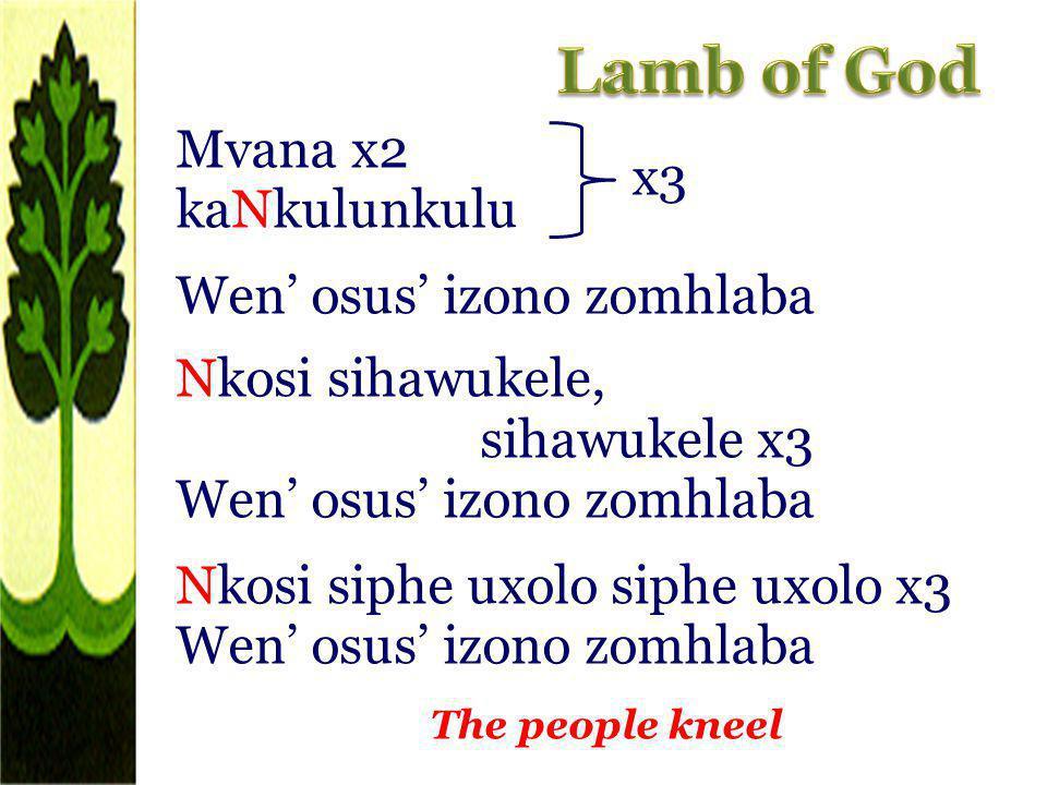 Mvana x2 kaNkulunkulu Wen osus izono zomhlaba Nkosi sihawukele, sihawukele x3 Wen osus izono zomhlaba Nkosi siphe uxolo siphe uxolo x3 Wen osus izono