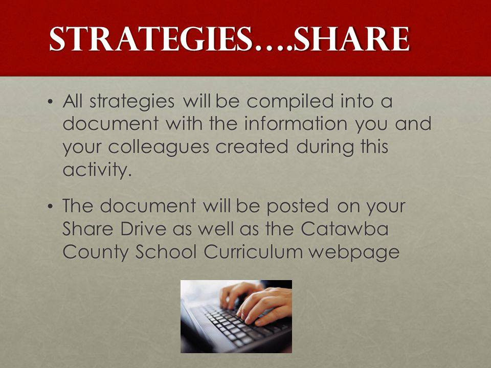 Strategies….SHARE All strategies will be compiled into a document with the information you and your colleagues created during this activity.