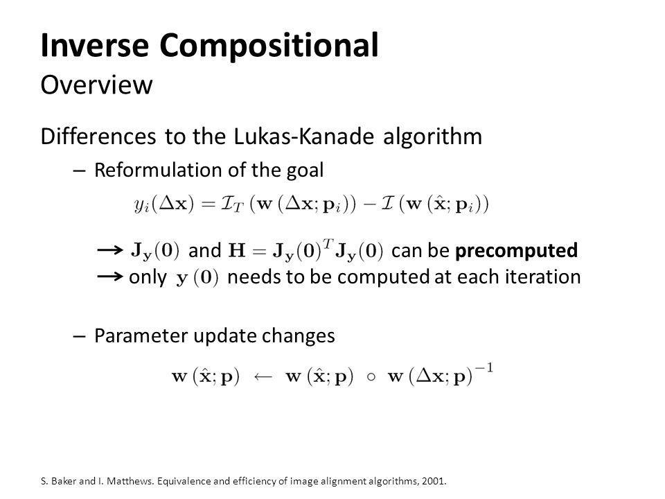 Inverse Compositional Overview Differences to the Lukas-Kanade algorithm – Reformulation of the goal and can be precomputed only needs to be computed