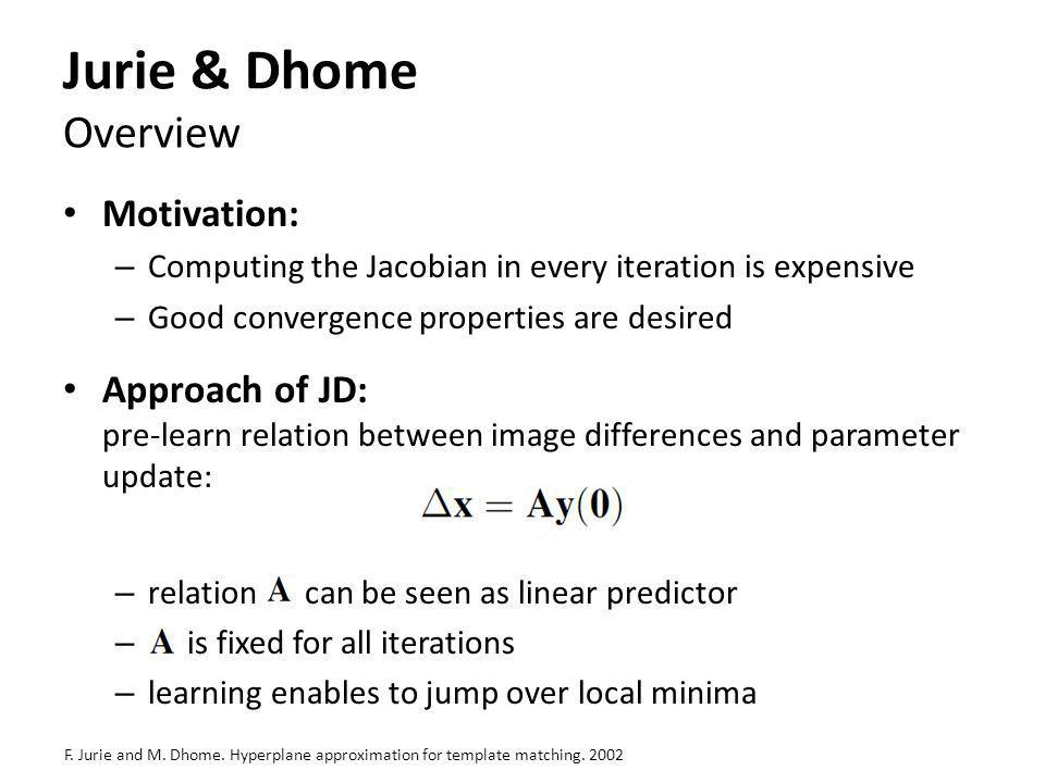 Jurie & Dhome Overview Motivation: – Computing the Jacobian in every iteration is expensive – Good convergence properties are desired Approach of JD: