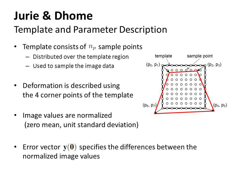 Jurie & Dhome Template and Parameter Description Template consists of sample points – Distributed over the template region – Used to sample the image