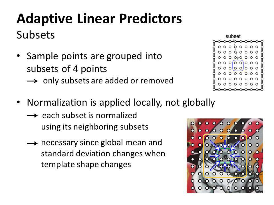 Adaptive Linear Predictors Subsets Sample points are grouped into subsets of 4 points only subsets are added or removed Normalization is applied local