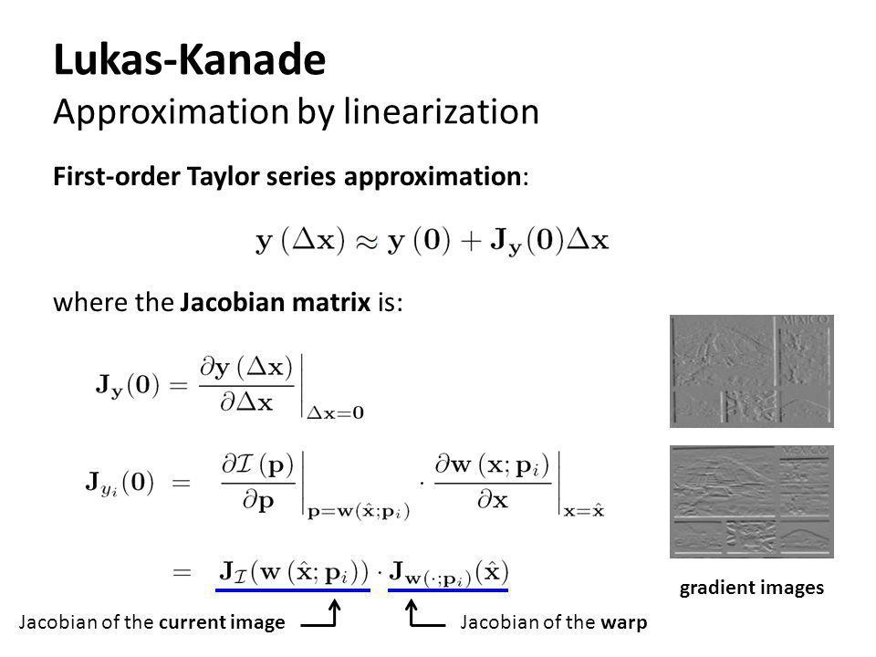 Lukas-Kanade Approximation by linearization First-order Taylor series approximation: where the Jacobian matrix is: Jacobian of the current imageJacobi