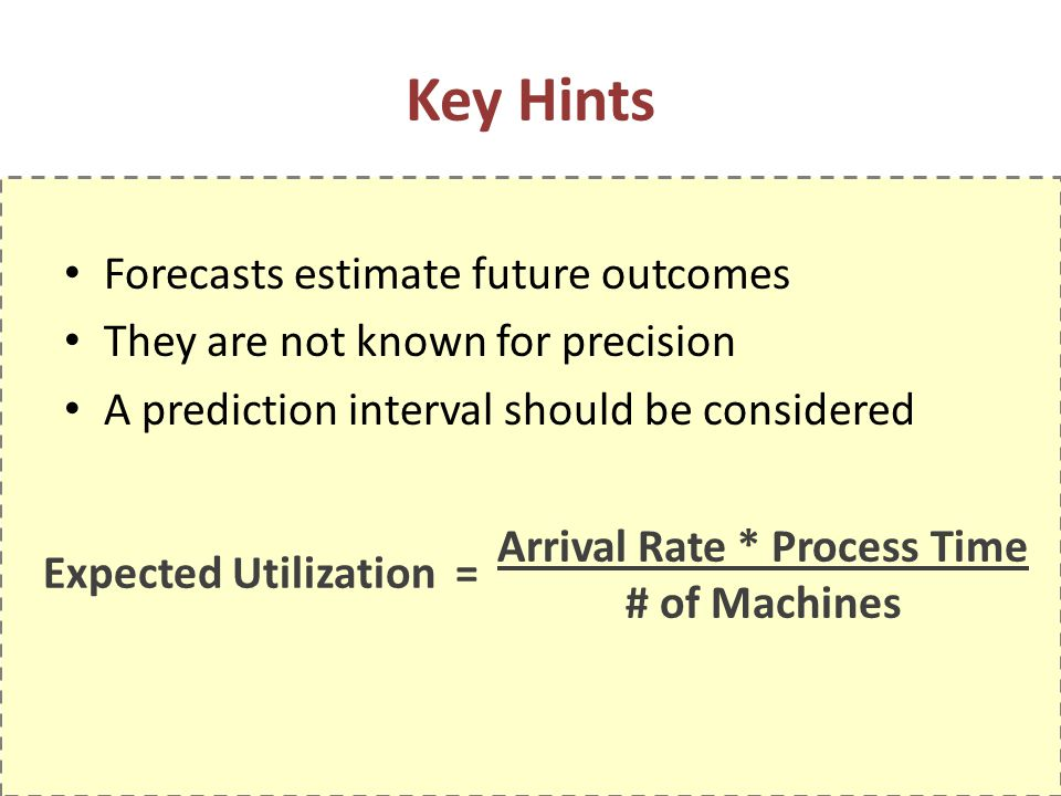 Expected Utilization = Key Hints Forecasts estimate future outcomes They are not known for precision A prediction interval should be considered Arrival Rate * Process Time # of Machines