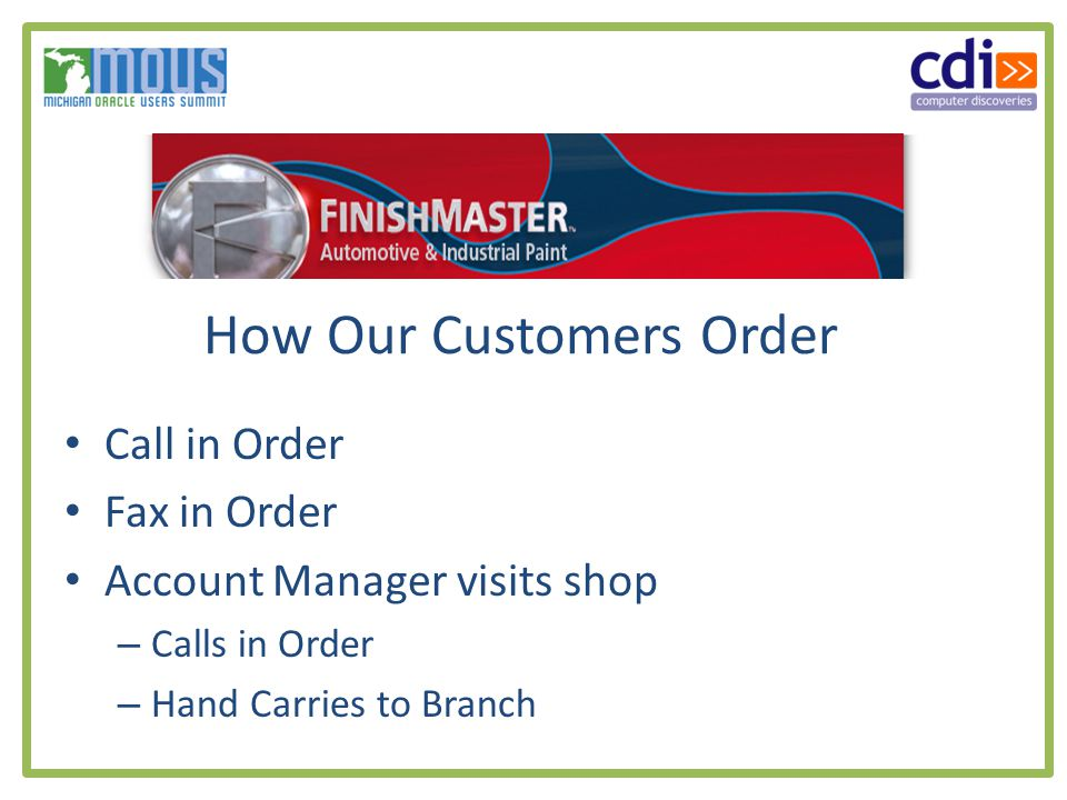 How Our Customers Order Call in Order Fax in Order Account Manager visits shop – Calls in Order – Hand Carries to Branch