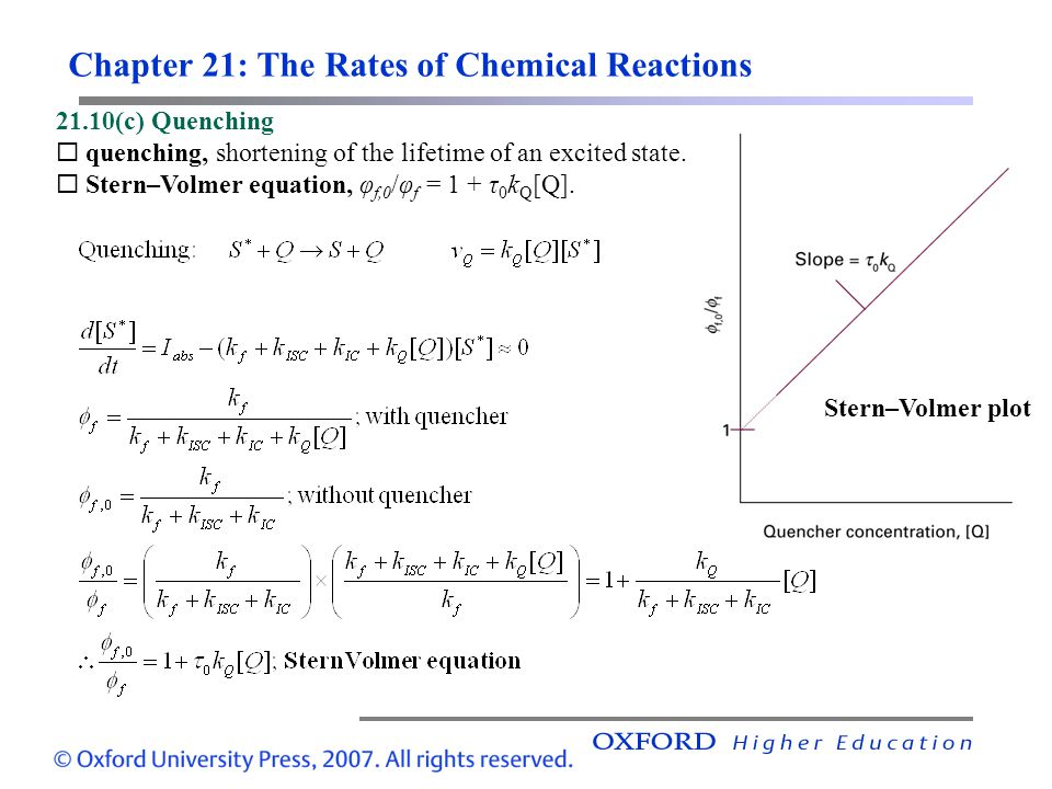 Chapter 21: The Rates of Chemical Reactions 21.10(c) Quenching quenching, shortening of the lifetime of an excited state. Stern–Volmer equation, φ f,0