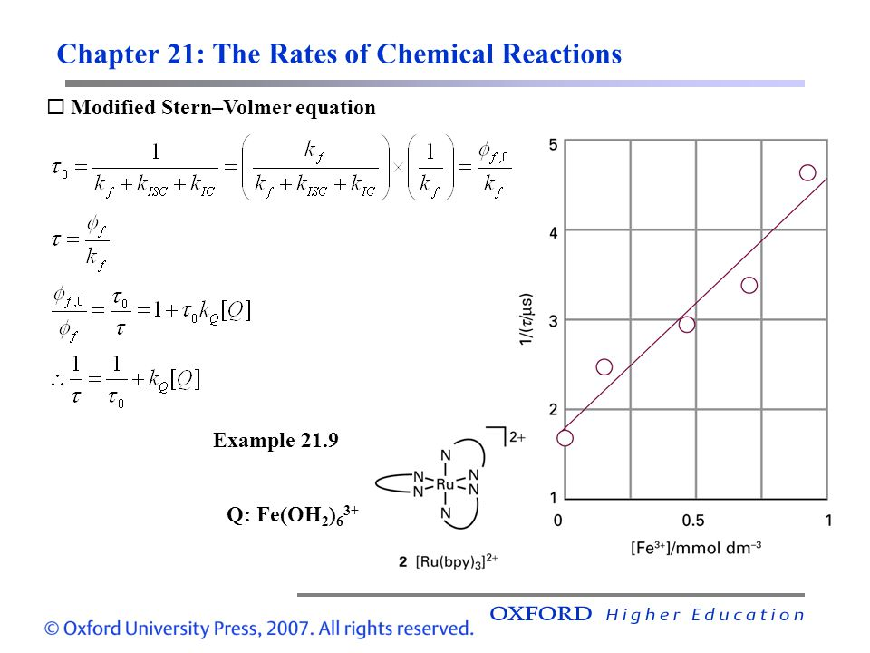 Chapter 21: The Rates of Chemical Reactions Modified Stern–Volmer equation Example 21.9 Q: Fe(OH 2 ) 6 3+
