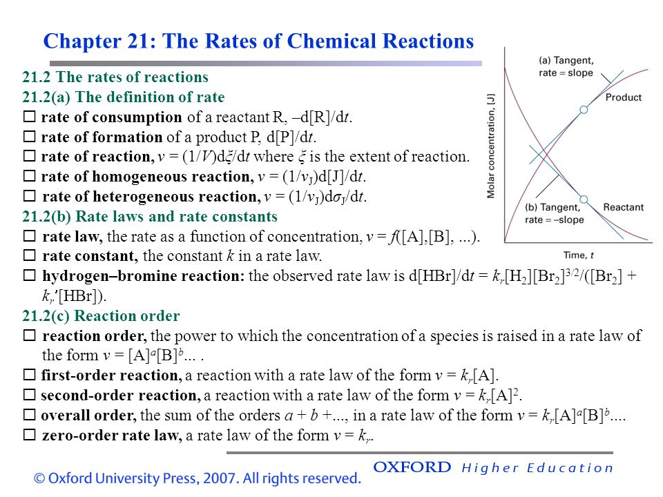 Chapter 21: The Rates of Chemical Reactions 21.2 The rates of reactions 21.2(a) The definition of rate rate of consumption of a reactant R, –d[R]/dt.