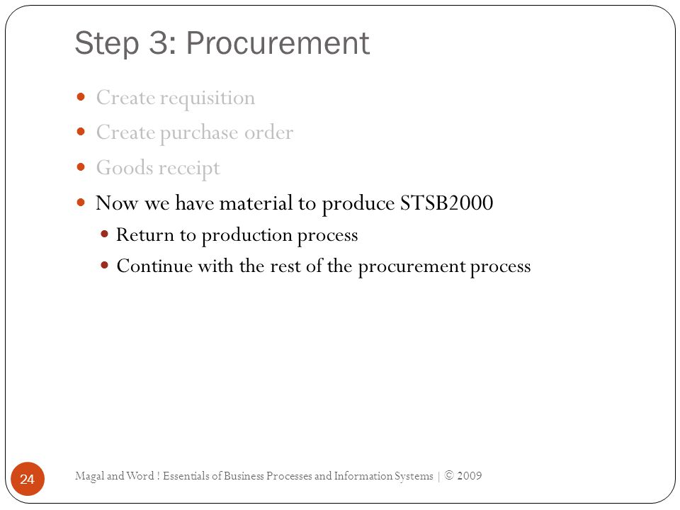 Step 3: Procurement Magal and Word ! Essentials of Business Processes and Information Systems | © 2009 24 Create requisition Create purchase order Goo