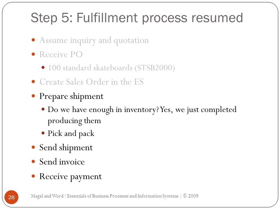Step 5: Fulfillment process resumed Magal and Word ! Essentials of Business Processes and Information Systems | © 2009 28 Assume inquiry and quotation
