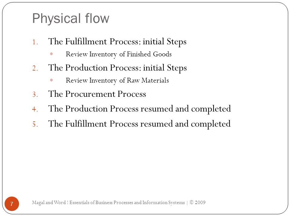 Physical flow Magal and Word ! Essentials of Business Processes and Information Systems | © 2009 7 1. The Fulfillment Process: initial Steps Review In